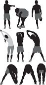 People stretching sports activity