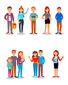 People stydents friends family kids parents vector illustration