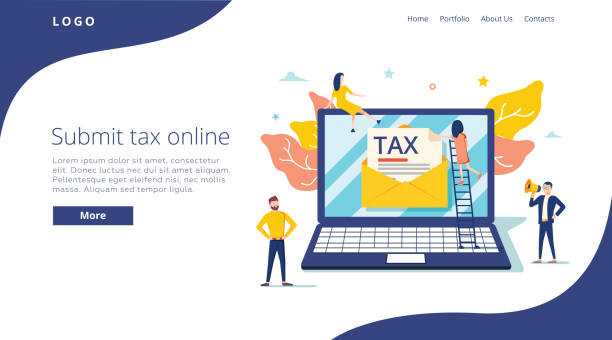 People submit tax by online vector illustration concept, online tax payment and report, can use for, landing page People submit tax by online vector illustration concept, online tax payment and report, can use for, landing page template, ui web and mobile app. Poster, banner or flyer. Online banking and finance tax form stock illustrations