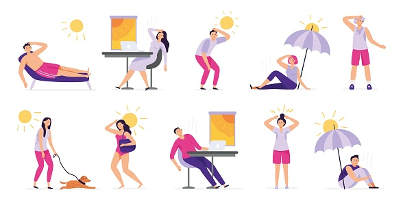 People suffer from heat. Sunstroke, summer hot weather and overheating. Sweaty people overheated in sun vector illustration set