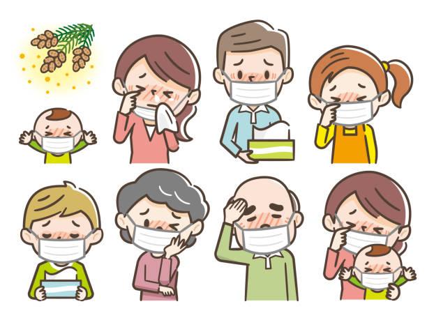 花粉症に苦しむ人々 - 花粉点のイラスト素材/クリップアート素材/マンガ素材/アイコン素材