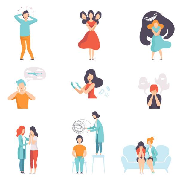 stockillustraties, clipart, cartoons en iconen met mensen die lijden aan psychische stoornissen set, vector psychotherapeuten behandelen patiënten op gedrags- of psychische gezondheidsproblemen illustratie - psychische aandoening