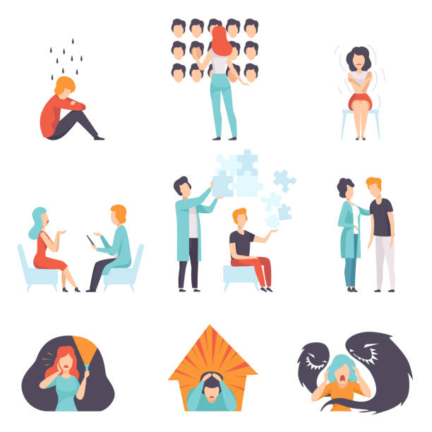 People suffering from mental disorders set, psychotherapists treating patients, mental health problems vector Illustration People suffering from mental disorders set, psychotherapists treating patients, mental health problems vector Illustration isolated on a white background. mental burnout stock illustrations