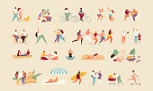 Large collection of summer active people. Recreation and outdoor sports vector illustration
