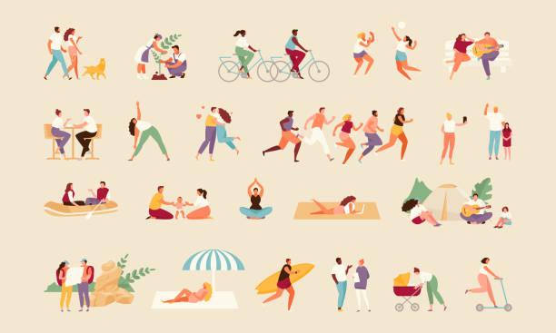 ilustrações, clipart, desenhos animados e ícones de vetor de atividade de verão das pessoas - exterior