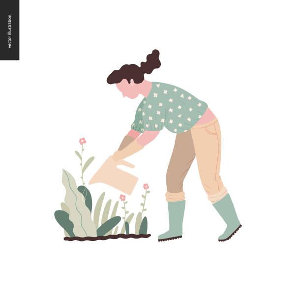 People summer gardening vector art illustration