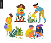 People summer gardening - set of vector flat hand drawn illustrations of people doing garden job - watering, planting, growing and transplant sprouts, self-sufficiency concept
