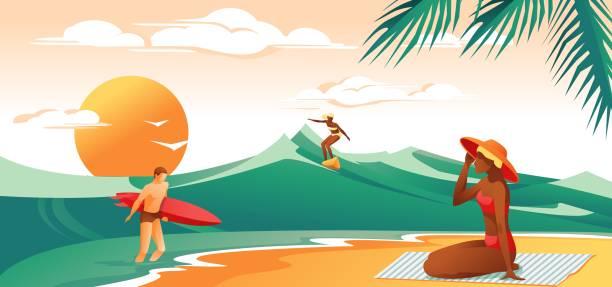 People Sunbathing and Surfing in Sea - Vector.