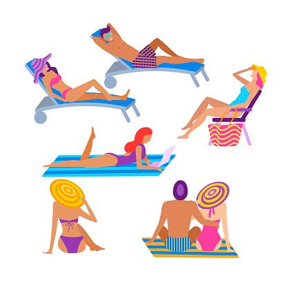 People sunbathing at summer recreatiation set