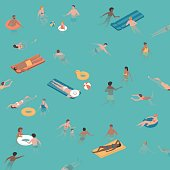 Happy people relaxing and swimming together in the sea, the are relaxing and diving into the water