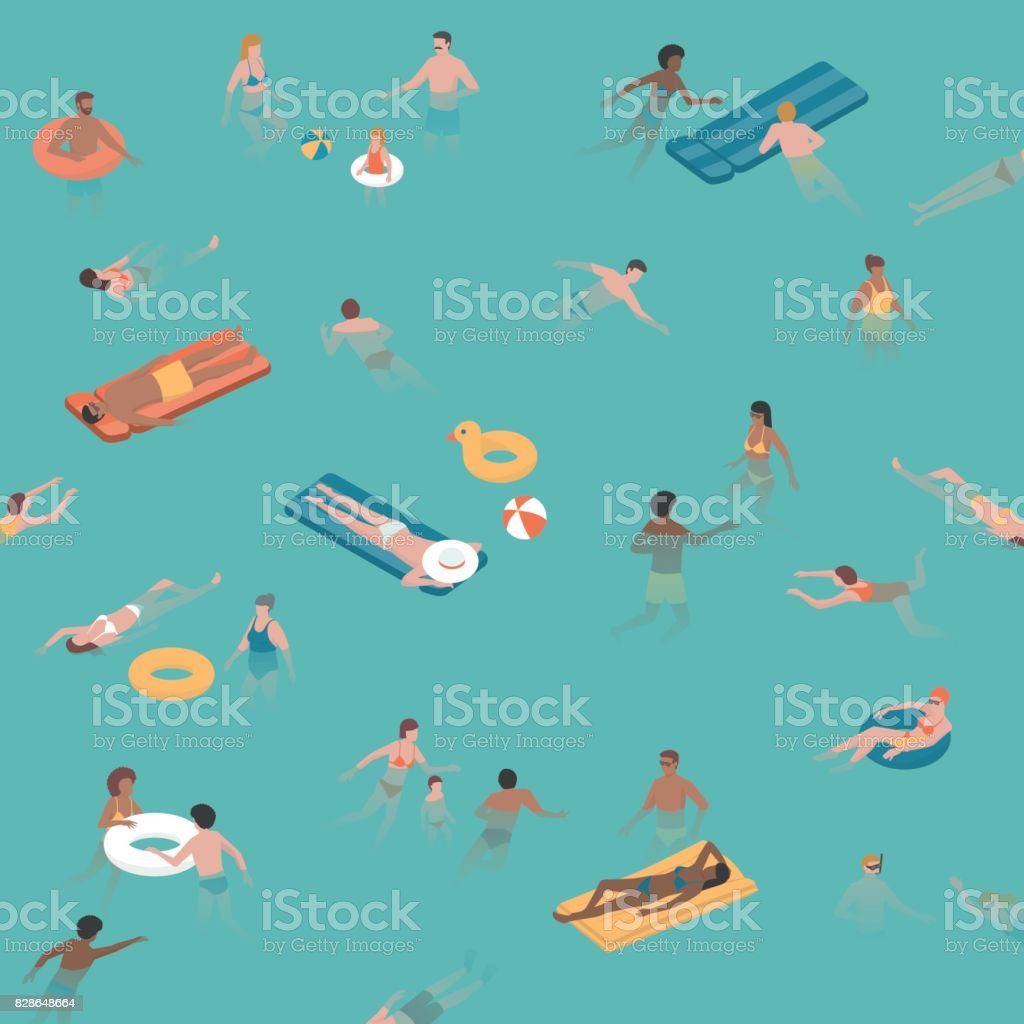 People swimming and diving in the sea vector art illustration