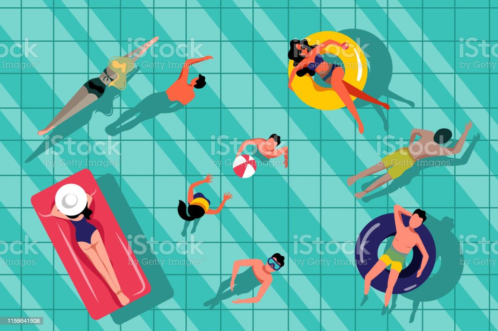 People swimming in swimming pool, top view illustration. Vector...
