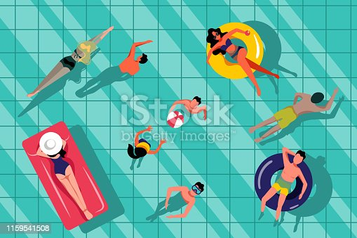 People swimming in swimming pool, top view illustration. Vector summer hand drawn water background. Beach resort and outdoor leisure concept.
