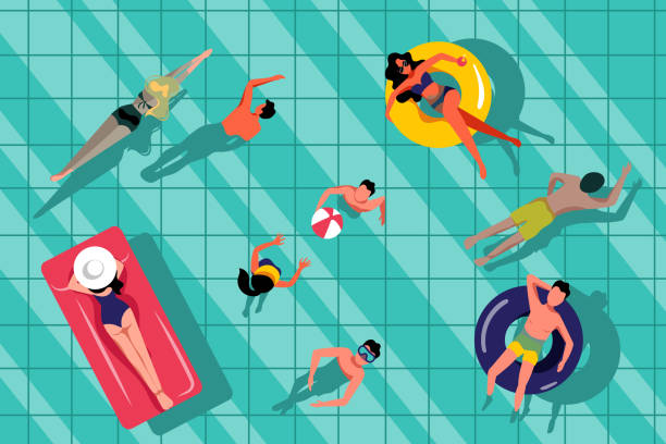 People swimming in swimming pool, top view illustration. Vector summer hand drawn water background. People swimming in swimming pool, top view illustration. Vector summer hand drawn water background. Beach resort and outdoor leisure concept. floating on water stock illustrations