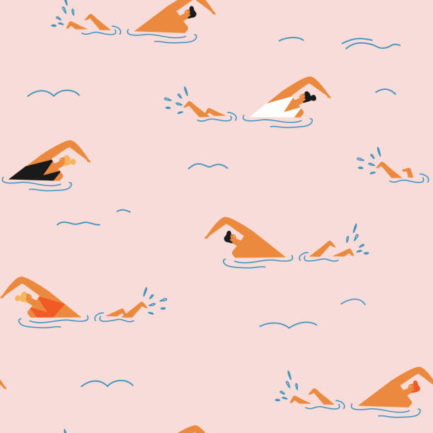 illustrazioni stock, clip art, cartoni animati e icone di tendenza di people swimming in the ocean seamless pattern. - nuoto mare