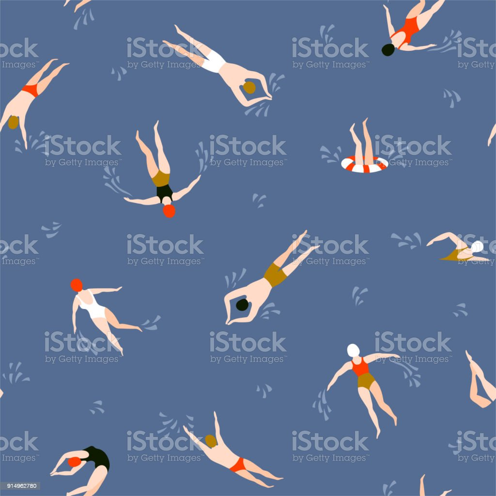 People swimming pattern. Summer seamless background. Summertime vector illustration with swimmers drawing in flat design. vector art illustration