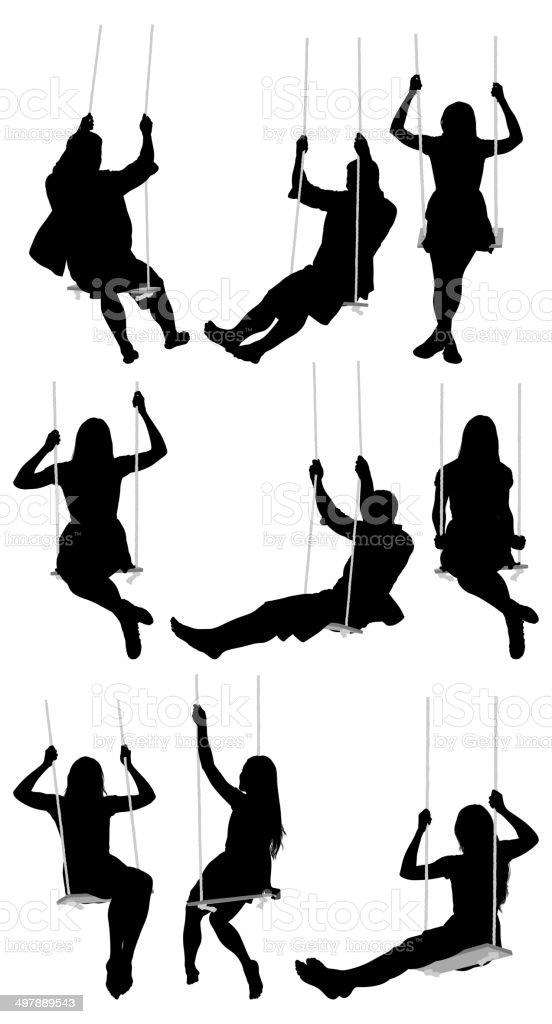 People swinging royalty-free stock vector art