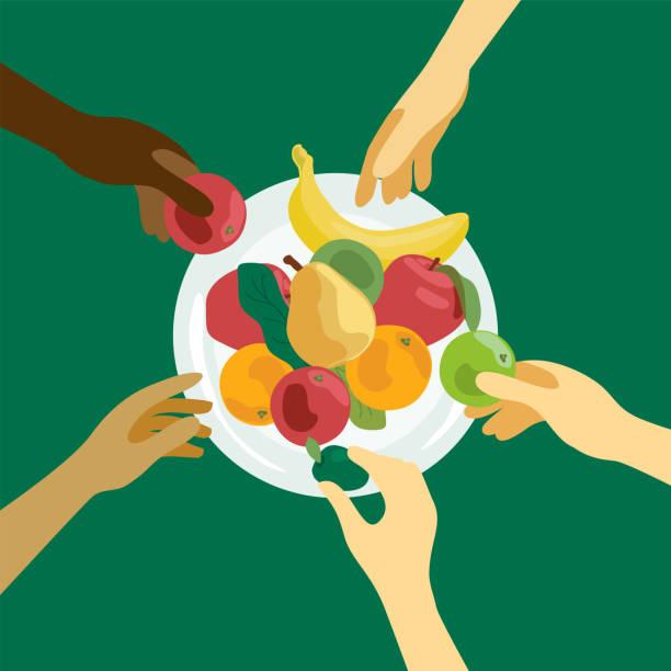 People take food from a plate – artystyczna grafika wektorowa