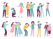 People taking photos. Woman takes selfie pictures, posing for professional photographer and man holding photo camera, modern photograph technology flat isolated icons vector set