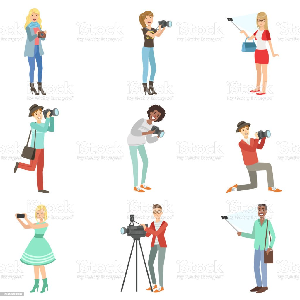 People Taking Pictures With Photo And Video Cameras vector art illustration