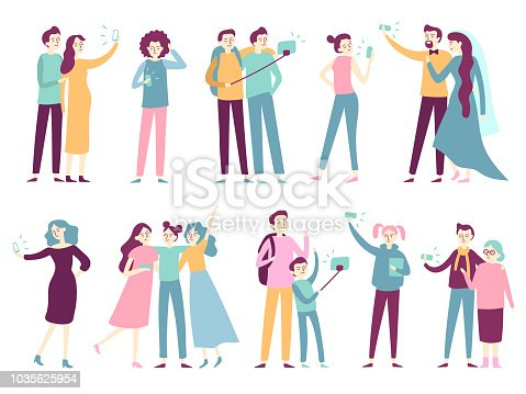 People taking selfie on smartphone. Men taking photos on mobile telephone facing camera, friends and single women posing for photo on smartphones fashion modern flat isolated icon set