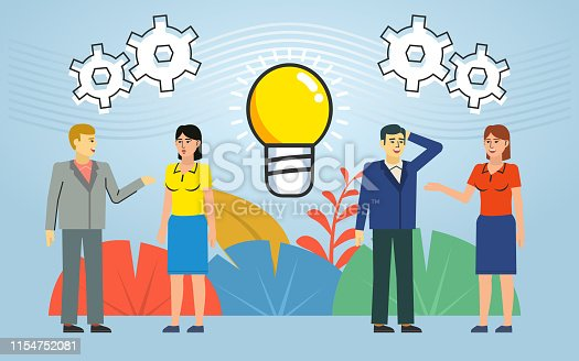 905689676 istock photo People talk, discuss, think, generate ideas. Strategy planning, brainstorming. Poster for social media, web page, banner, presentation 1154752081