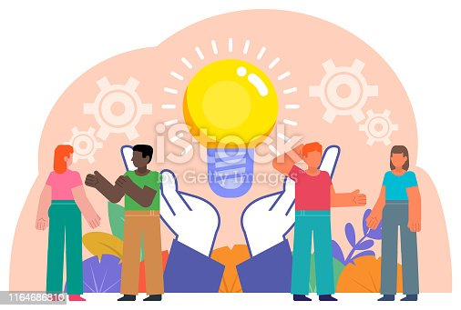 905689676 istock photo People talk, discuss, think, generate ideas. Strategy planning, brainstorming. Poster for social media, web page, banner, presentation 1164686810