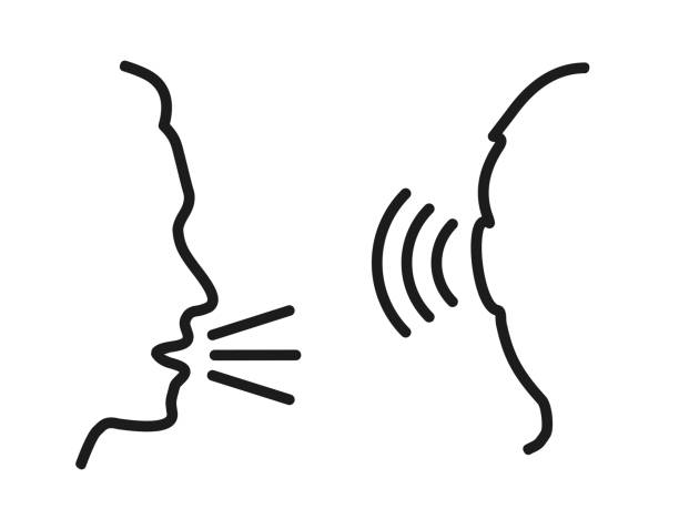 People talk: speak and listen – for stock People talk: speak and listen – for stock listening stock illustrations
