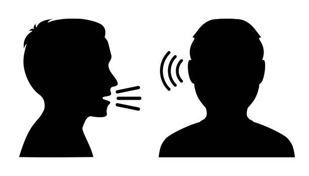 illustrazioni stock, clip art, cartoni animati e icone di tendenza di people talk: speak and listen – stock vector - ear talking
