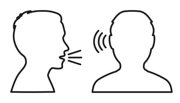 illustrazioni stock, clip art, cartoni animati e icone di tendenza di people talk: speak and listen - vector - ear talking