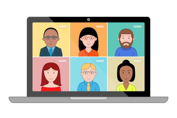 stockillustraties, clipart, cartoons en iconen met mensen praten met elkaar op het computerscherm. conferentie video gesprek, werken vanuit huis. - corona scherm