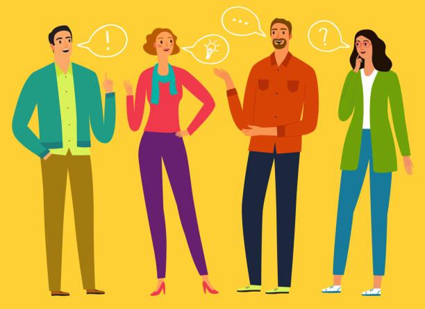 ilustrações de stock, clip art, desenhos animados e ícones de people talking and thinking set - homem casual standing sorrir