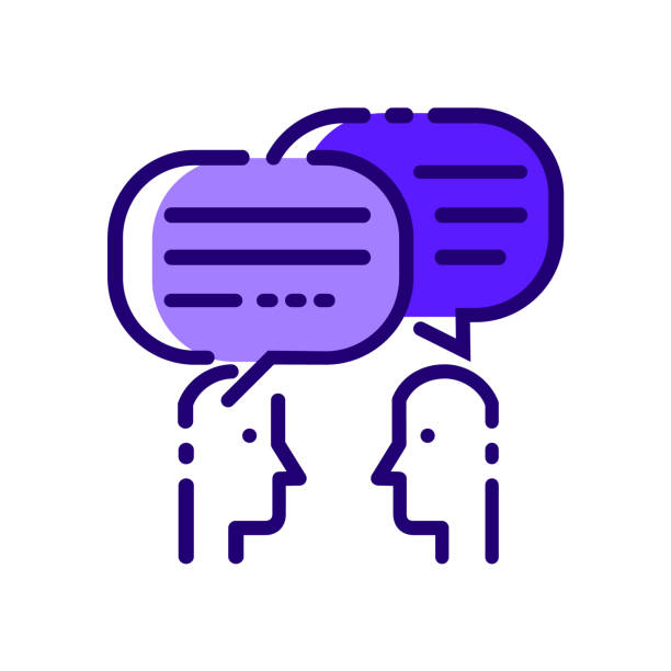 people talking. blue flat thin line icons. - two people talking stock illustrations, clip art, cartoons, & icons