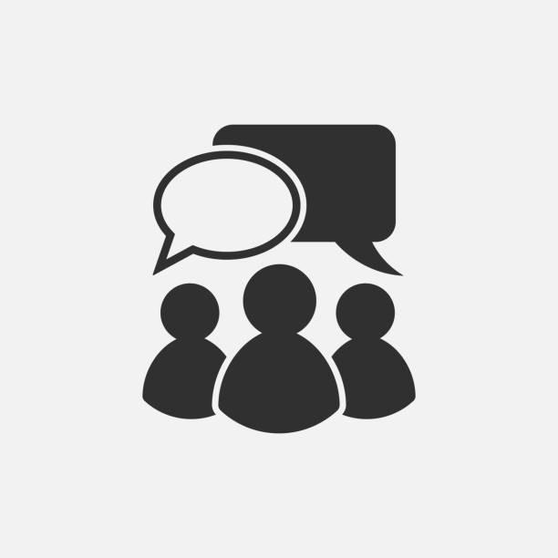 stockillustraties, clipart, cartoons en iconen met mensen praten pictogram. geïsoleerd op een witte achtergrond. vectorillustratie. - group of fans talking