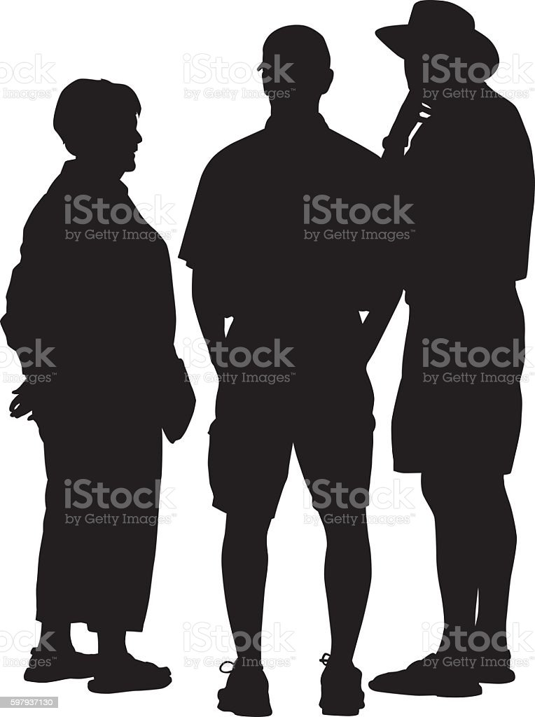 People Talking Silhouette vector art illustration
