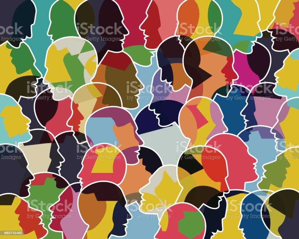 People talking, thinking concept. vector art illustration
