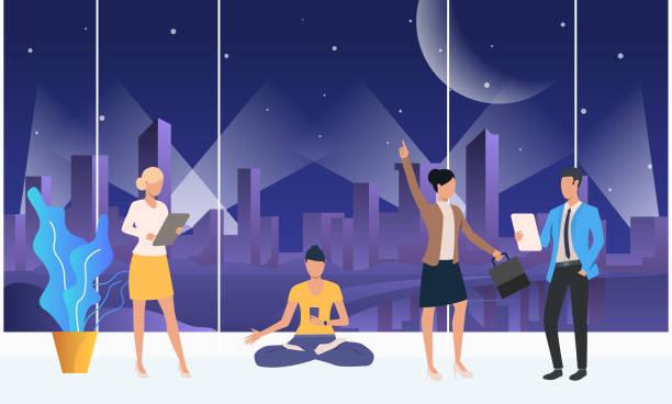 menschen, die reden, gadgets benutzen und im co-working-space meditieren - computergrundlagen stock-grafiken, -clipart, -cartoons und -symbole