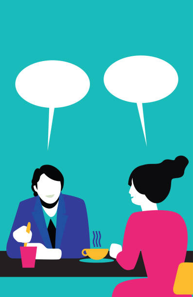 People Talking Illustration of basic colors, simple, people without faces, talking, talking, living, having a nice moment between them.  This illustration is made in vectors and it is easy to change colors and adapt to any size.  The text balloons and people can move position, add or remove trabajo en equipo stock illustrations
