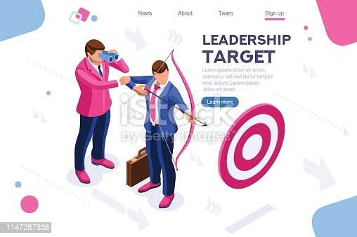Running people, target forward. Leadership, climbing your way, job action. Can use for web banner, infographics, hero images. Flat isometric vector illustration isolated on white background