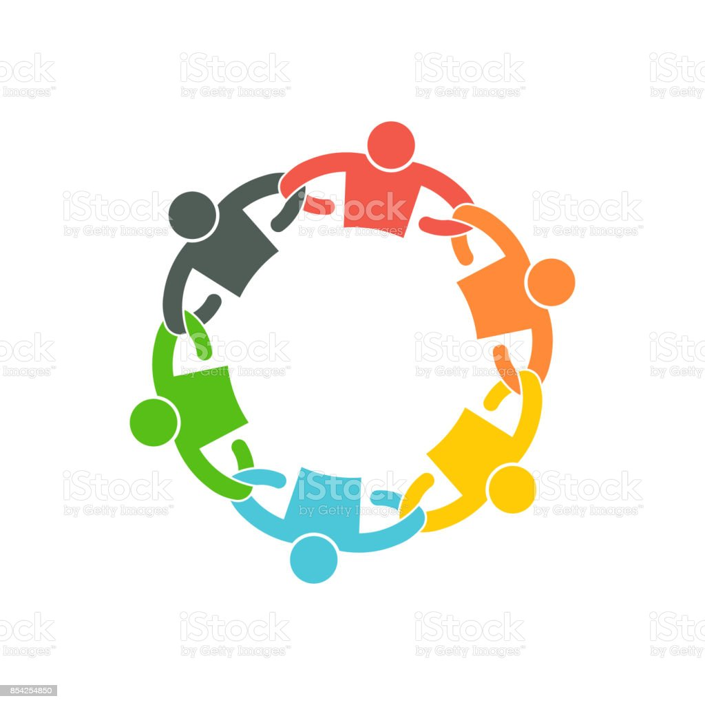 People Team with Linking Arms. symbol Vector Illustration vector art illustration