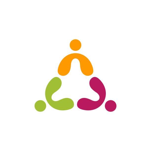 stockillustraties, clipart, cartoons en iconen met mensen teamwork logo onderwijsgroep symbool icoon vector design - drie personen