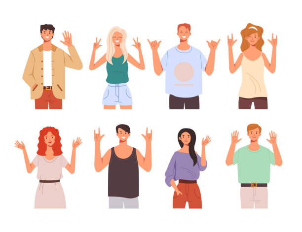 People teen characters say hello and showing greeting gesture hands isolated set. Vector flat graphic design cartoon illustration vector art illustration