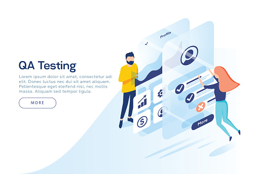 People testing the interface and usability of a mobile application. Isometric illustration. Landing page concept.