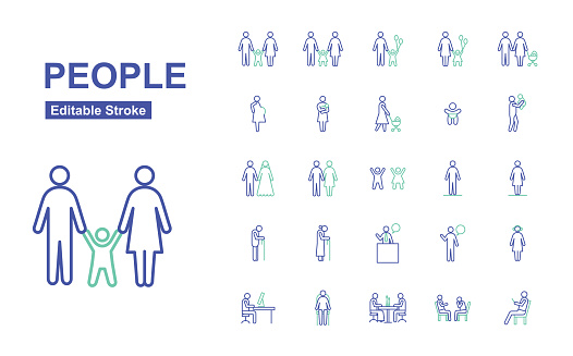 People Thin Line Icons. Editable Stroke. Vector.