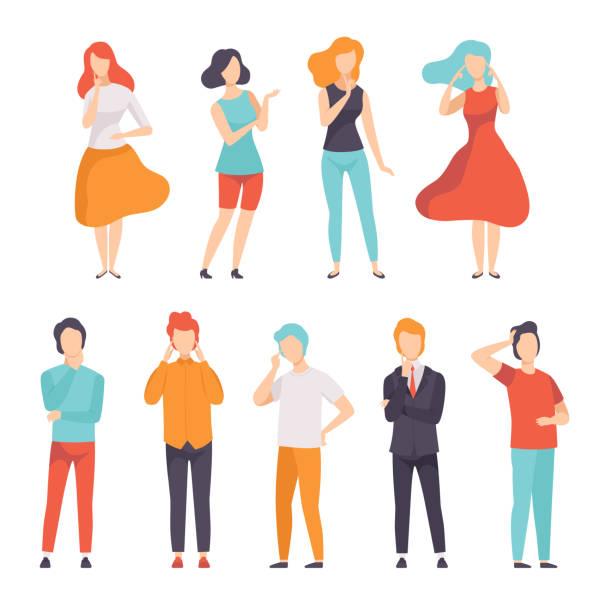 人想法或做決定集合, 年輕的人和婦女想法某事向量例證在白色背景 - 不確定 幅插畫檔、美工圖案、卡通及圖標