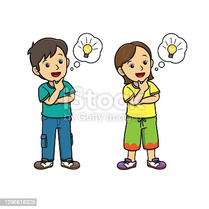 istock People thinking with lightbulb in the speech bubble/cloud callout. For human face expression or emotion concepts.Used to compose teaching materials in a set that expresses emotions. 1296616325
