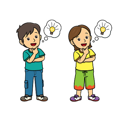 People thinking with lightbulb in the speech bubble/cloud callout. For human face expression or emotion concepts.Used to compose teaching materials in a set that expresses emotions.