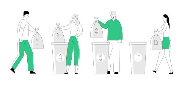 People Throw Garbage into Recycling Containers and Bags. Men and Women Collecting Trash, Recycle Environmental Plastic Pollution Problem, Ecology Protection, Cartoon Flat Vector Illustration, Line Art People Throw Garbage into Recycling Containers and Bags. Men and Women Collecting Trash, Recycle Environmental Plastic Pollution Problem, Ecology Protection, Cartoon Flat Vector Illustration, Line Art plastic pollution stock illustrations