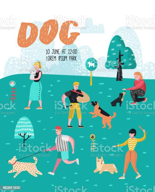 People training dogs in the park dog poster banner characters walking vector id963841630?b=1&k=6&m=963841630&s=612x612&h=iykxmaag3tw1nsnsp7dfcc 1lienrncxnuj8pv0ajym=