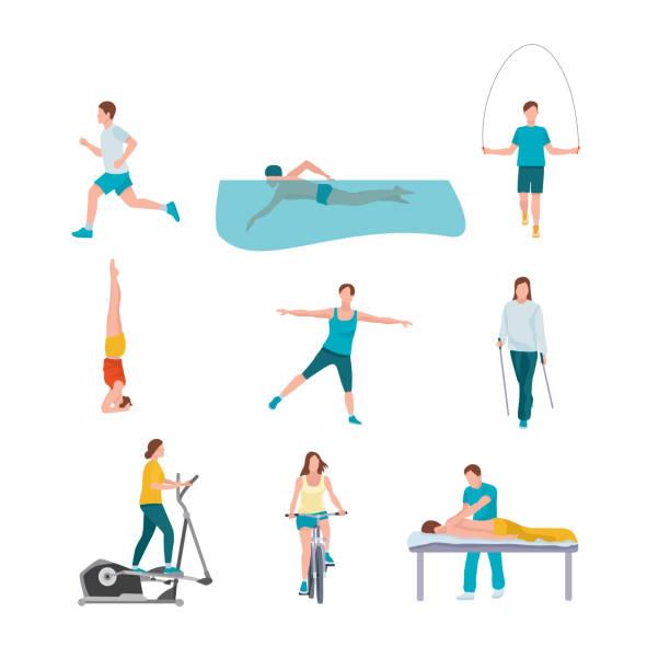 ilustrações de stock, clip art, desenhos animados e ícones de people training flat illustrations set - jump pool, swimmer